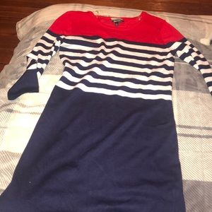 Red, navy and white dress